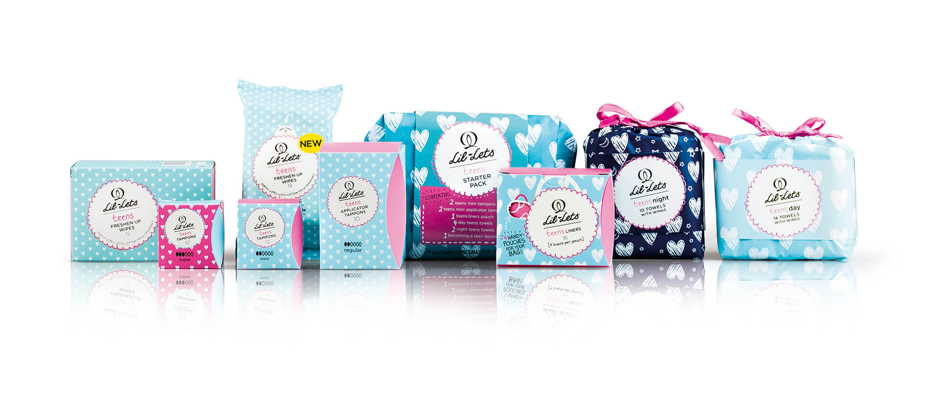 Creative Coup Branding Services Lil-Lets teen packs in group shot