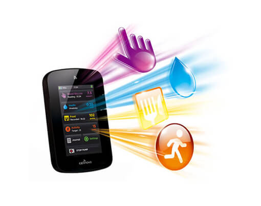 Creative Coup Branding Services Cellnovo handset with animated icons